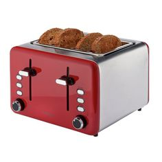 Cookworks 4 Slice Toaster - Red Red 4 Slice Toaster, Black Toaster, Cord Storage, Crumpets, Red Design, Brushed Stainless Steel, Argos, Keep It Cleaner, Kitchen Decor