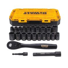 DEWALT Tough Box 23 PC Drive Impact Socket Set: Heat treated steel, DirectTorque Technology, Laser etched markings, O-ring and retaining pin compatible, Black oxide coating. Woodworking Tools For Sale, Essential Woodworking Tools, Router Woodworking, Woodworking Projects, Diy Router, Router Table, Woodworking Workshop, Router Bits, Wood Projects