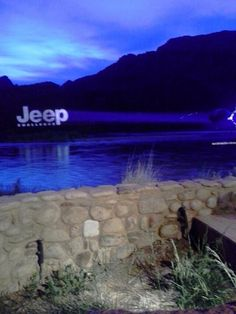 Projecting 300 ft across a lake and onto a mountain.