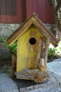 Rustic Birdhouses Yellow Driftwood Accent by BirdhousesByMichele
