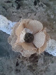 Burlap Flower Headband by SweetBowPeepBoutique on Etsy, $12.00