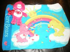 Care Bears front. Bags for foster kids made from pillowcases and stuffed with a furry friend.
