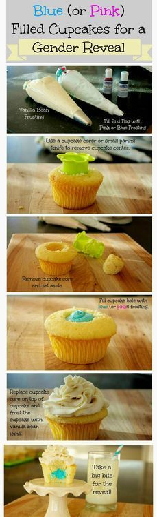Gender reveal cupcakes: The doctor   accidentally told me the sex of the baby! So I'll be making these cupcakes for   all the kiddos to share the fun news! :)