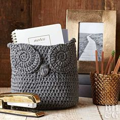 This adorable crochet owl basket makes the perfect organizer for your desk essentials or an adorable DIY gift, because whooooo can resist an organizing solution that's this cute!?