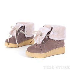 Appealing Camel Flat Heel PU Closed Toe Lace-up Boots