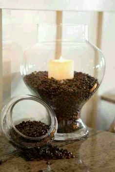 This is great idea for a coffee bar centerpiece at a brunch shower