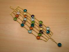 925 SOLID STERLING SILVER & 24 CT GOLD OVERLAY FACETED PERIDOT DESIGNER BRACELET #Handmade #bracelet   $29.51