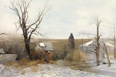 Dean Mitchell (1957-….) Midwest Winter, year?, 20″ x 30″, watercolor