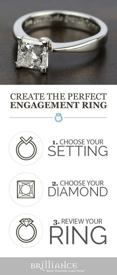 Create your perfect engagement ring! Start with a beautiful setting, add your choice of princess diamond and see it all come together!