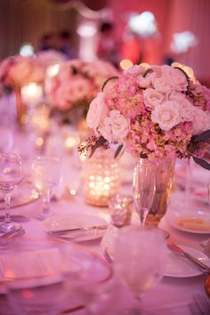 Pink Hydrangea and Rose Centerpiece | photography by http://justindemutiisphotography.com