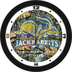 NCAA South Dakota State Jackrabbits Camo Wall Clock