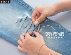 If patience isn& your thing, nor is the idea of mass-manufactured holes, we put together an easy step-by-step guide on how to distress your jeans at home. Diy Jeans, Löchrige Jeans, Holey Jeans, Torn Jeans, Diy Ripped Jeans Tutorial, Diy Distressed Jeans Tutorial, Jeans Refashion, Denim Cutoffs, How To Make Ripped Jeans