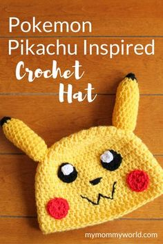 This free Pokemon crochet hat pattern will help you make the most fun Pikachu hat for any Pokemon fan. Easy enough for beginners to make, the hat comes together quickly and is nice and warm on cold winter days.