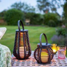 Set of 2 Rattan Solar Powered LED Garden Lanterns