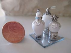 Miniature Perfume Bottles on Glass Tray for Dollhouse or Decoration Purposes