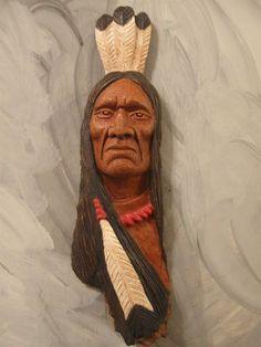 Wood Carving, Wood Spirit, Native American Indian