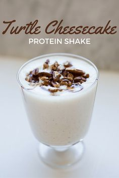 Turtle cheesecake protein shake, high in protein low in sugar. Say goodbye to boring protein shakes!