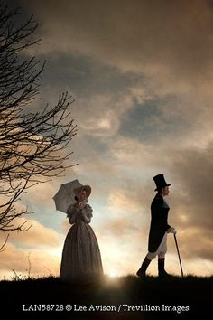 Trevillion Images - victorian-couple-parting-at-sunset