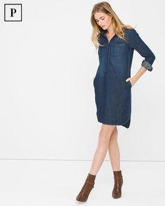 d92fe345ec4e White House | Black Market Petite Denim Shirt Dress Petite Shirt Dress,  Denim Shirt Dress