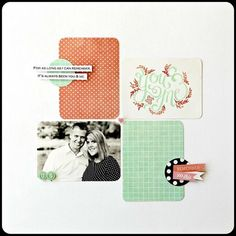 Traditional layout using PL cards - love it! I think I'll use this configuration. Layout by Jody Wenke for the Two Peas blog.