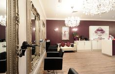 Love The Chandeliers And Pretty Vintage Mirrors Salon Interior Design