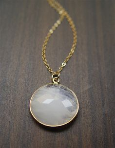Round Moonstone Gold Necklace
