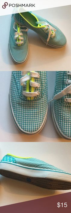 Keds Gingham Tennis Shoes Blue and white gingham tennis shoes, warn once or twice, perfect condition Keds Shoes Sneakers