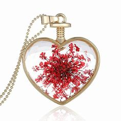 TR.OD Peach Heart Four Leaf Lucky Luck Clover Pendant Necklace Rhinestone Crystal Inlayed Jewelry (Green)