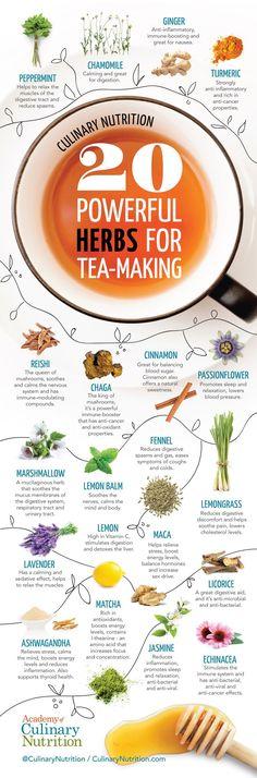 20 Healing Herbs for Tea and 3 Healing Tea Recipes - Detox tea Natural Medicine, Herbal Medicine, Homemade Tea, Tea Benefits, Le Diner, Tea Blends, Healing Herbs, Detox Tea, Tea Recipes