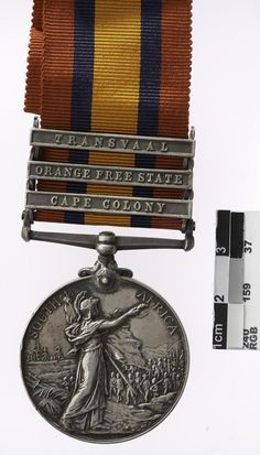 British Boer War: Queen's South Africa Medal with Transvaal, Orange Free State and Cape Colony clasps. Military Awards, Military Ranks, Military Insignia, Cape Colony, British Medals, Military Decorations, Free State, African Countries, British Army