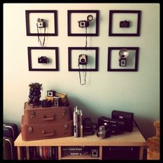 Old stuff as art. Can do cameras, vintage kitchen tools, bottle openers, trivets, etc