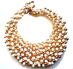60s Coppola e Toppo Cascading White and Gold Necklace/Made in Italy