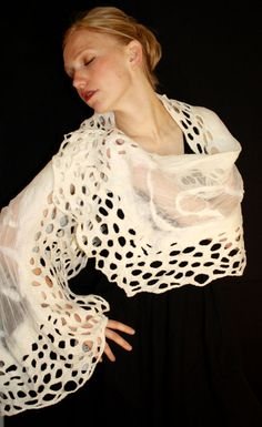 White Nuno Felt Lace Shawl Wrap by JHILLartisanfelt on Etsy, $90.00