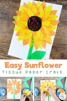 Looking for fun Summer crafts for kids to try with your children? Check out this easy sunflower craft for kids + get printable craft templates here!  Tissue Paper Sunflower Crafts for Kids | Sunflower Crafts Ideas | DIY Sunflower Crafts for Kids | Easy Summertime Crafts for Kids | Easy Flower Crafts for Kids | Easy Sunflower Kids Craft Ideas | Simple Summer Crafts for Kids to Make | Summer Tissue Paper Crafts for Kids | Tissue Paper Flowers Craft for Kids #SummerCrafts #SunflowerCrafts Paper Sunflowers, Paper Flowers Craft, Tissue Paper Crafts, Paper Crafts For Kids, Craft Projects For Kids, Easy Crafts For Kids, Arts And Crafts Projects, Craft Activities For Kids, Preschool Crafts
