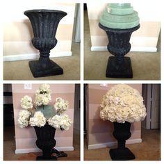 DIY Wedding Urn, fake wedding flowers, garden urn, DIY aisle marker, DIY wedding flowers, hydrangea and rose arrangement