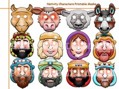 This listing is for (12 pdf patterns full masks) Unique Nativity Characters Printable Masks-best choice birthday, Christmas, New Year, Happy Holidays, decoration party, photo booth props for child or adult.  Paper mask easy to print, cut and enjoy! You will need Adobe Reader in order to open each file. Get it FREE at Adobe.com All masks are of one common scheme. They are ideal for toddlers, children or adults!  INSTANT DOWNLOAD INCLUDES: • 1 PDF(12 pdf patterns full masks) file ready for…