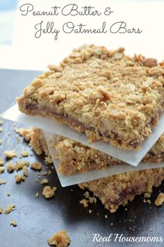 Peanut Butter and Jelly Oatmeal Bars | Real Housemoms | #cookiebar #dessert #oatmeal