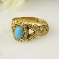 Antique Georgian 18k Yellow Gold Turquoise Engraved Ring / 18th Century by HoardJewelry on Etsy https://www.etsy.com/listing/197384724/antique-georgian-18k-yellow-gold