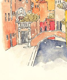 "Venetian Landscape ""Bridge"" - Watercolor 