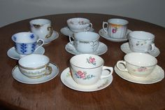 9 international remarried Cups & Saucers by MagpieMarysMarket