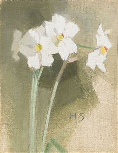 The Athenaeum - Daffodils (Helene Schjerfbeck - ) Helene Schjerfbeck, Plant Illustration, Botanical Flowers, Contemporary Paintings, Art Techniques, Daffodils, Figurative Art, Female Art, Watercolor Art