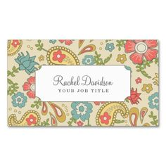 Paisley Floral Business Cards