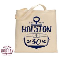 30th Birthday Nautical Tote Nautical Birthday Personalized Tote Bags Welcome Bags Favors Custom Cotton Totes Party Favor Bags 1596 by SipHipHooray