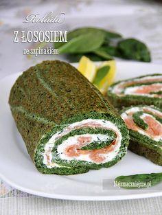 Rolada ze szpinakiem i wędzonym łososiem, rolada ze szpinakiem, rolada z łososiem, szpinak, łosoś salmon, http://najsmaczniejsze.pl #food #salmon #łosoś #szpinak