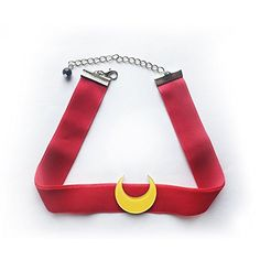 Cosplay Choker Red Velvet with Moon Necklace