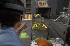 """At its core, HoloLens is an augmented reality headset running on Windows 10 that projects """"holograms"""" only the user can see. Windows 10, Xbox One, Google Glass, Microsoft Windows, Virtual World, Virtual Reality, Surface Book, Apps, Head Up Display"""