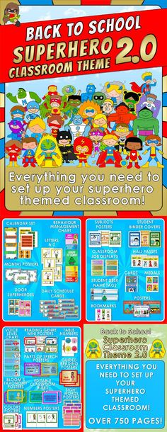 <strong> Back to School - SUPERHERO CLASSROOM THEME 2.0</strong> Everything you need to set up your superhero themed classroom! $
