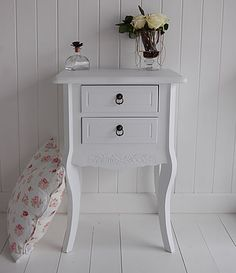 Daisy White Bedside Table and Cabinet with 2 drawers