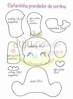 Little Toy Elephant pattern. Photos of the finished elephant is xoxograndma. Baby Crafts, Felt Crafts, Diy And Crafts, Felt Animal Patterns, Diy Bebe, Baby Mobile, Felt Quiet Books, Elephant Pattern, Felt Baby