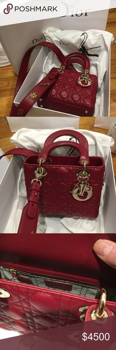 Lambskin My Lady Dior 100% Authentic Lambskin My Lady Dior bag in Cherry  Red with 419db2cfc0717